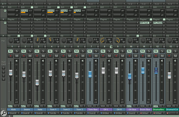 Screen 4: an example of how you might use submix buses and VCA faders with a multitrack drum recording.