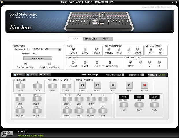 The Nucleus Remote software utility allows you to customise the Nucleus button assignments and other setup options of all three available DAW‑control layers.