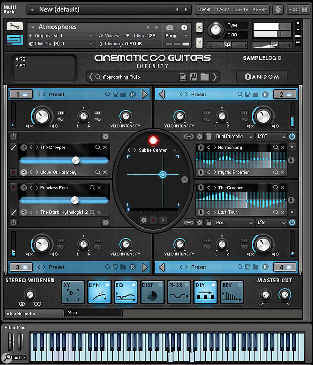 The Kontakt front–end looks busy, but it does provide a  huge array of creative options.