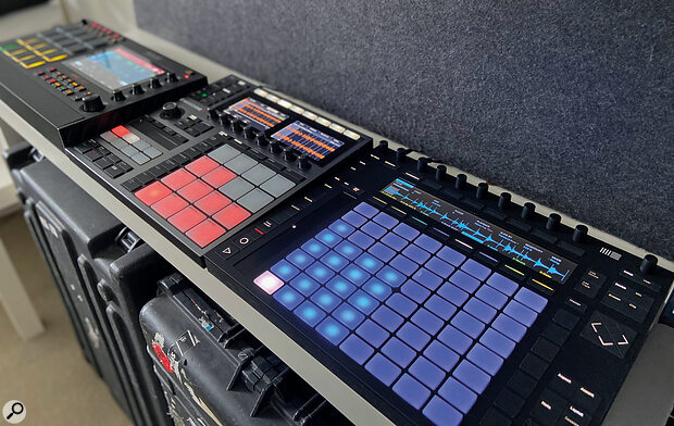 Akai MPC [left], Native Instruments Maschine [middle] and Ableton Push [right].