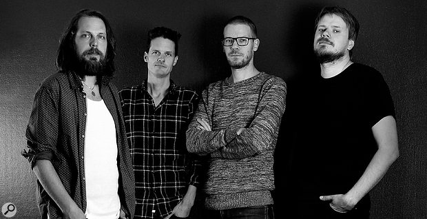 For many years, the Softube staff comprised only four people, all of whom had an active role in product development. From left: Niklas Odelholm, Torsten Gatu, Arvid Rosén and founder Oscar Öberg.
