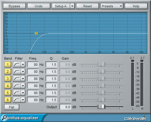 Here, the Sonitus EQ is set up as a pop filter using multiple stacked high-pass curves.