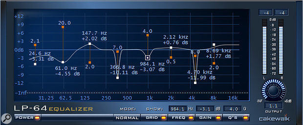 This linear phase EQ allows for extremely complex and detailed curves.