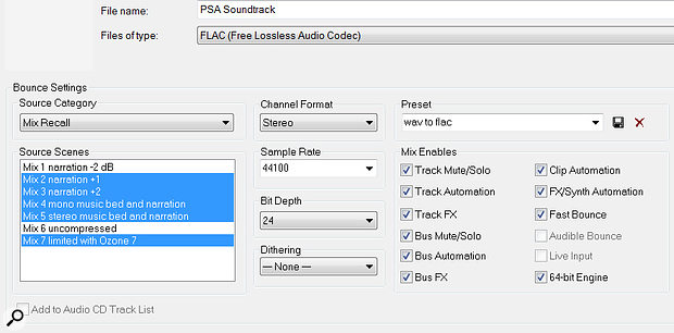 You can export individual Mix Scenes, or collections of Mix Scenes, simultaneously when using the File Export menu.