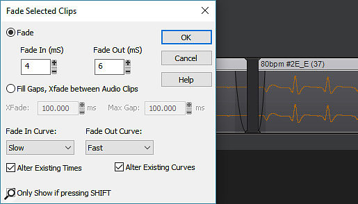 Among other uses, the Fade Selected Clips options makes it easy to remove clicks from collections of WAV files before they're turned into Groove Clips.