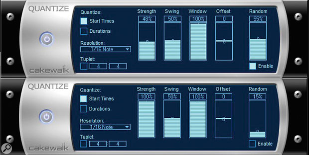 Use two Quantize MIDI plug-ins in series to create variations in a drum part that go beyond changes in quantisation strength or velocity.