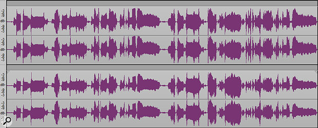 The lower waveform is the original vocal, while the upper one has been tweaked to even out levels.