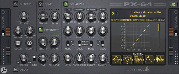 The Expander and Equalizer modules have been enabled and set to remove room ambience from drums.