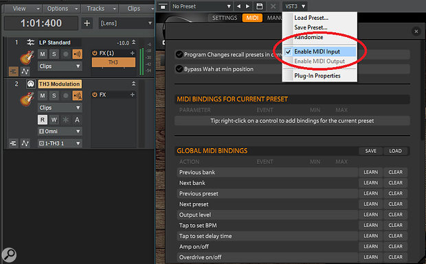 To take advantage of controlling TH3 with MIDI data, enable MIDI input from the VST3 drop-down menu.
