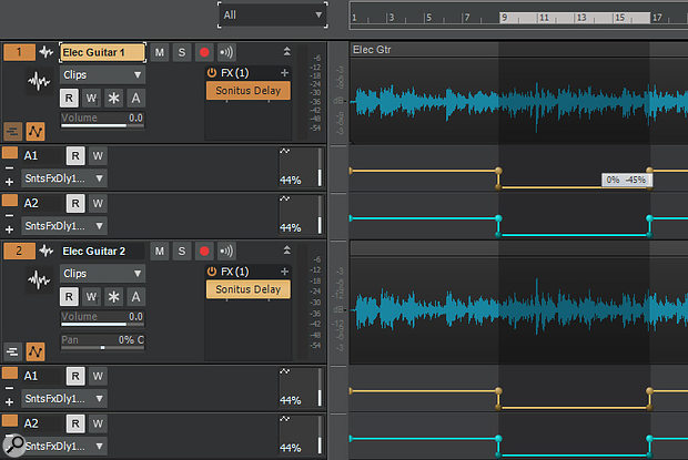 The Mix parameter for both channels of two Sonitus Delays have been brought down, simultaneously and identically, to dry mix only with one click-drag.