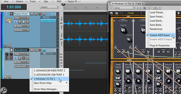 Use a  plug-in header's VST drop-down menu to let MIDI notes control MIDI-aware processors and instruments. Here, a  channel's MIDI output feeds Arturia's Moog Modular V2.