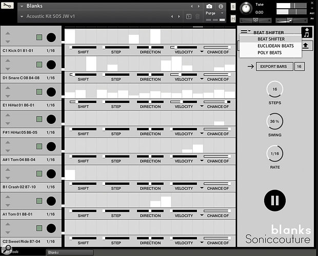 Blanks offers three different beat tool options for pattern creation, including the excellent Beat Shifter.