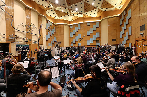 All 60 players of the Budapest Art Orchestra's string section.