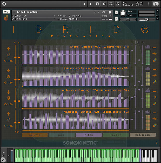 Automation overlays (pitch is shown here, with four samples loaded) let you twist the original material out of recognition.