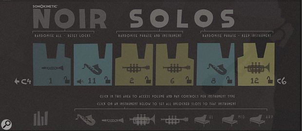 In the Solos interface the user can make the software select instruments and phrases at random, or they can click on one of the images at the bottom of the page to assign that particular instrument to all of the key slots.