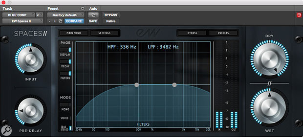 Variable high- and low-pass filters enable some tonal shaping if required.