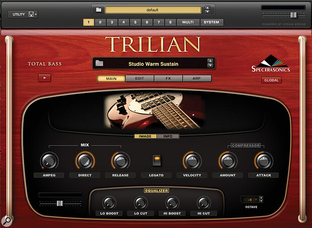 Trilian groups the most important top-level controls on one page for quick editing.