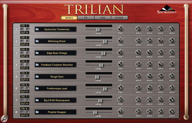 Steam's eight‑way multis have four aux sends for global FX as well as individual instrument effects.