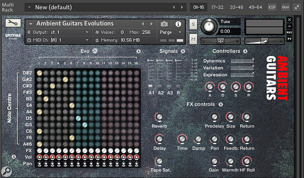 The Evogrid matrix allows 16 Evo sounds to be layered to create evolving patches.