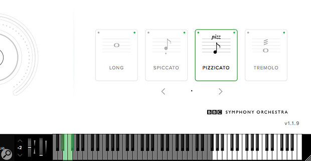 Articulations can be switched within the plug‑in or using keyswitches (shown in green on the mini keyboard graphic).