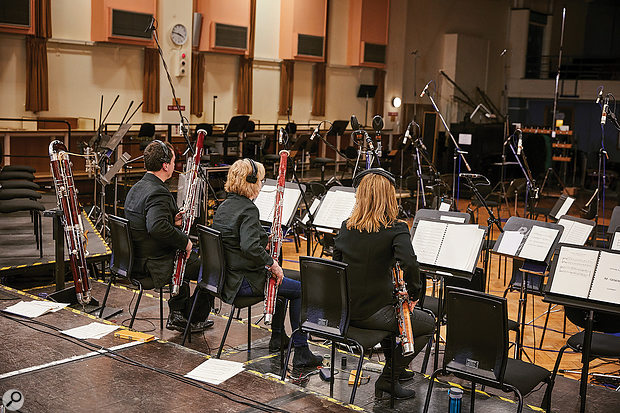 The bassoon section doing what they do best in front of an impressive array of microphones.