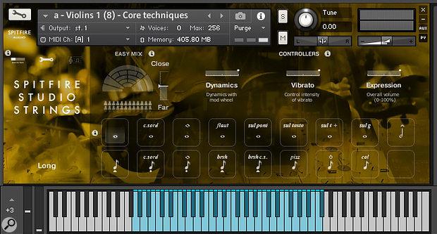 The Kontakt GUI for Spitfire Studio Strings, showing 17 keyswitchable articulations.