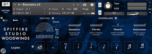 Spitfire Studio Woodwinds' GUI. This patch contains nine commonly used keyswitchable performance styles, making it easy to create quick sketches.