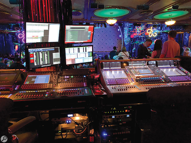 Two DiGiCo consoles — an SD7 and an SD10 sidecar — are chained together to handle the 200+ channels that the show requires.