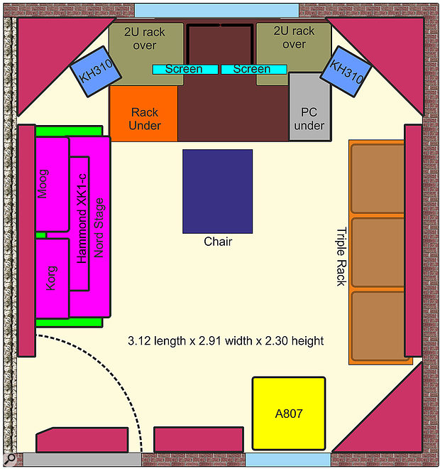 A plan view of the final studio layout.