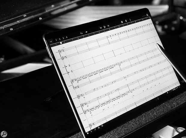 StaffPad in all its glory, seen here running on a Surface Pro X perched upon a Bösendorfer.
