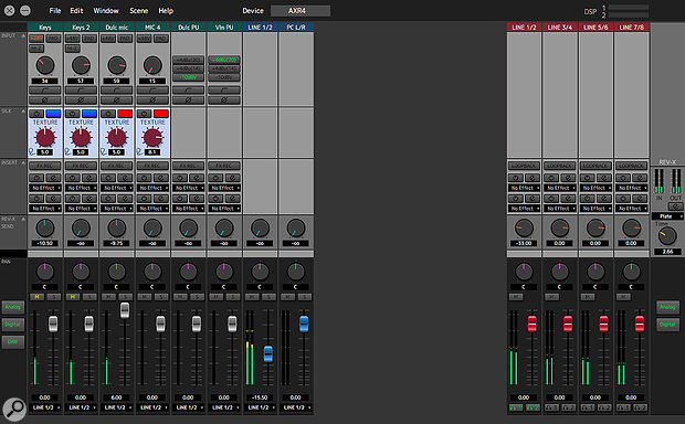 The AXR4's unglamorous but eminently useful dspMixFx software.