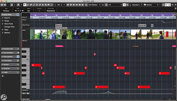 The display of Global tracks within the Key Editor will be very helpful for composers when synchronising musical content to specific visual events in their film or TV project.
