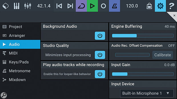 The Settings options include ways to optimise your audio/MIDI performance but using external hardware may remain a challenge under Android for some users.