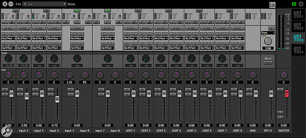 The DspMixFX window is familiar from many other Steinberg interfaces, and presents a comprehensive yet easy-to-use low-latency mixer with built-in reverb.