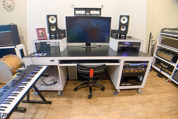 Steve Ouimette's single-room studio is highly tailored to his own needs as a composer and self-recording musician.