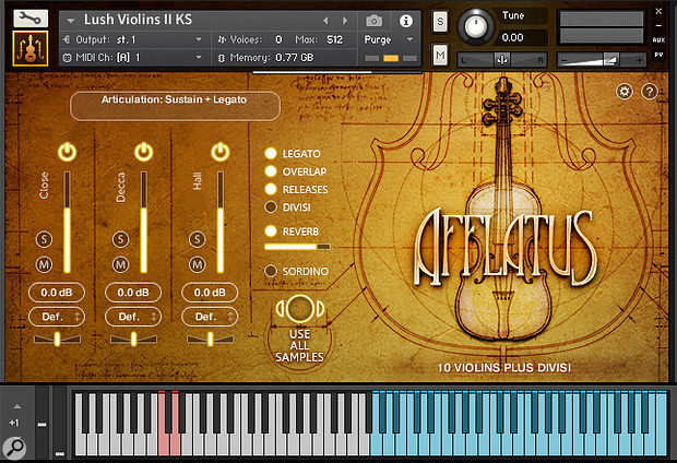 Afflatus Strings' Kontakt GUI includes a microphone mixer and settings for the instruments' true legato performances. Keyswitches are marked in pink, with mapped samples shown in blue.