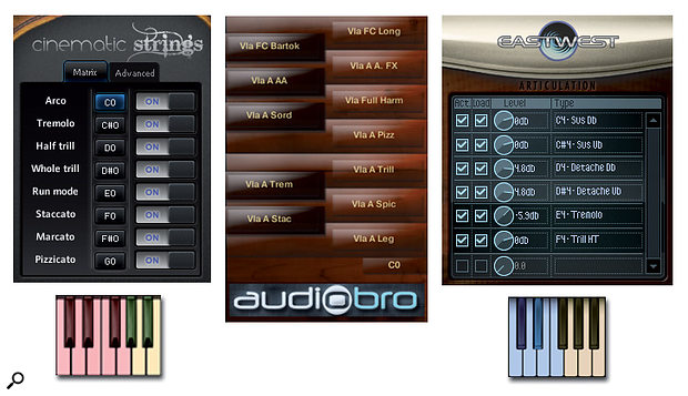 Diagram 4: The keyswitch displays of (from L‑R), Cinematic Strings 2.0, Audiobro LA Scoring Strings 2.0 and East West Quantum Leap Hollywood Strings. Keyswitching allows you to switch instantly between different articulations, and keyswitch notes are often depicted in adistinctive colour on the sample player's on‑screen keyboard.