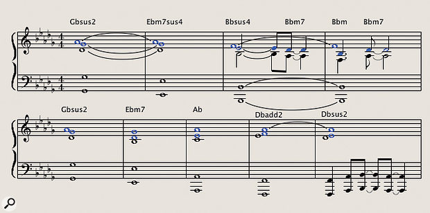 Diagram 2: A fleshed-out string arrangement of the 'Grey Skies' excerpt designed to support the high violins counter-melody in diagram 1. The three-note chords are played by divisi second violins (marked in blue) and violas, while the bass line is played by cellos and basses in octaves. Some chords contain tone intervals, a harmonic coloration favoured by your author that is often considered de trop in conventional pop/rock arrangements.