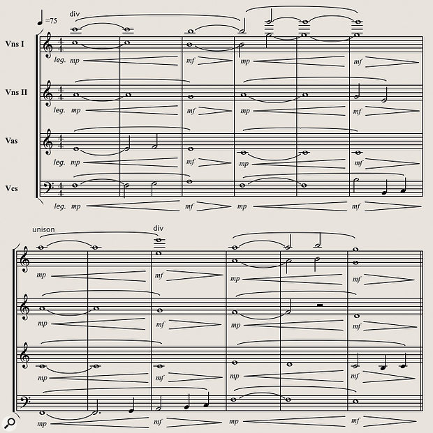 Diagram 7: The Logic‑generated score of the 'Truenorth' string arrangement extract.