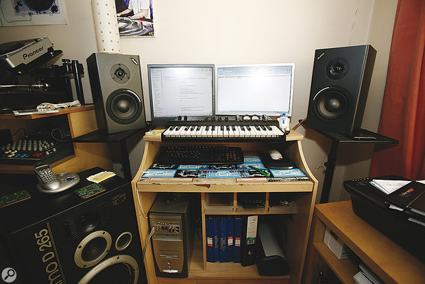 Before: Space constraints meant that Michael's PC‑based studio had to be set up in the corner of the room.