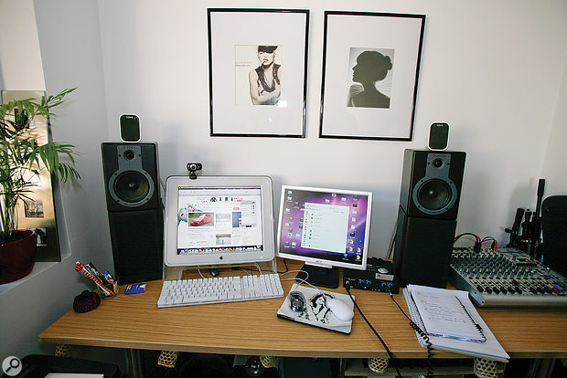 Before: the presence of the mixer on the right of the desk meant that Olivia's speaker setup was off-centre. The hard plasterboard walls were also contributing to poor stereo imaging.