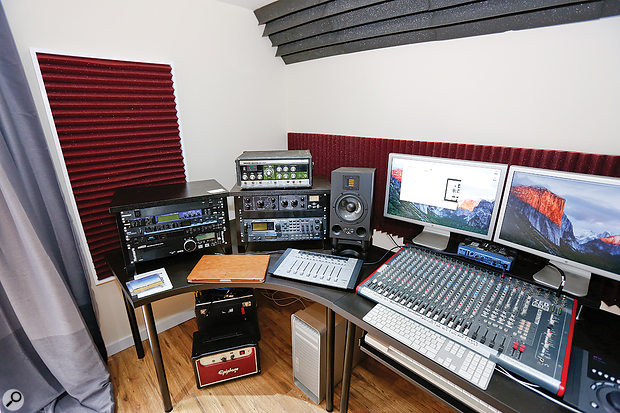 Prior to the visit, the equipment racks were sited on either side of the computer monitors, with the Adam speakers on top. However, this aimed the tweeters rather higher than was ideal, so eventually the racks were moved off to one side, and the speakers placed on IsoAcoustics stands directly on the desk.