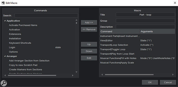 Some Macros have user-definable 'States' that affect how they work. Here, by setting the 'Editor View' State to 1, this Macro will open the Editor every time, rather than simply toggling its open/closed state.