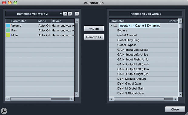 2. Automation envelopes can be added to a track using the Automation Add/Remove dialogue. When an Audio channel has an insert effect instantiated, automatable parameters for the effect appear inside an Inserts folder in the right-hand pane of the dialogue box.