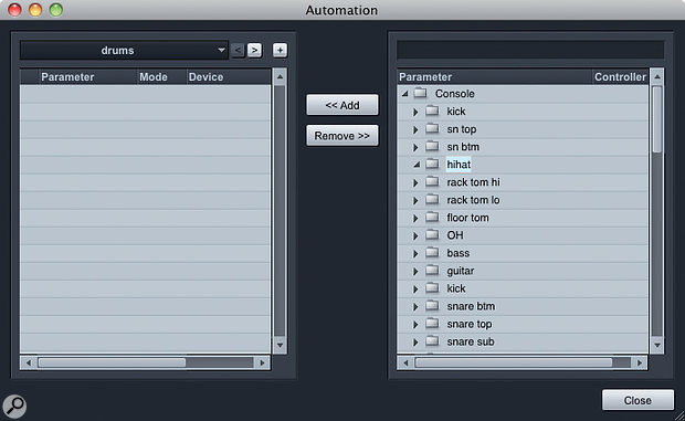 3. There's much less than meets the eye here. This Automation Add/Remove box opened from a Folder track appears to show folder after folder of parameters, but most of the folders are empty because they are already used elsewhere.