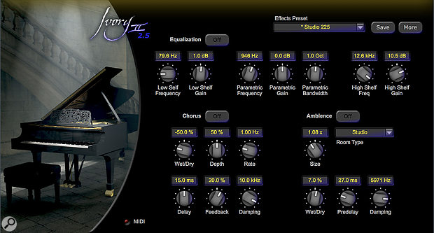 There's nothing new in Ivory 2.5's effect page: just the good selection of respectable EQ, chorus and reverb as before. Despite the marketing blurb Iwas surprised how little of the host studios' ambience were baked into the samples, and there are no alternative mic perspectives to add any more. Consequently you might be glad of that Ambience section.