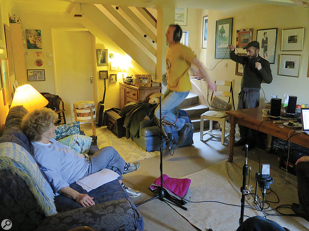 Shirley (left) watches as Ossian (right) attempts to stop Morris dancer Glen Redman injuring himself in the recording process!