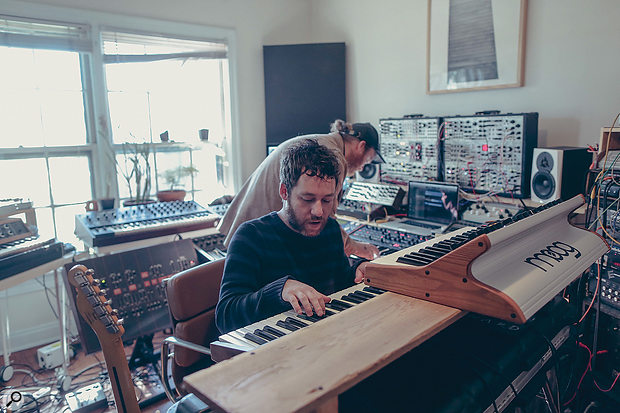 Kyle Dixon (foreground) is joined in his studio by collaborator Michael Stein. As one half of Austin-based electronic act Survive, the pair have amassed an enviable array of vintage and modern synthesizers. And you haven't seen Michael's studio yet...