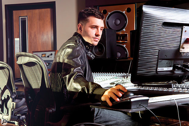 Jordan Young, aka DJ Swivel, at New York's ultra‑luxurious Jungle City Studio.