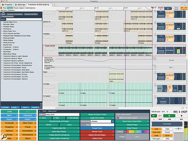 Tracktion's main Edit screen. Almost every function can be accessed from this single multi–paned view. Note also the availability of automation tracks.